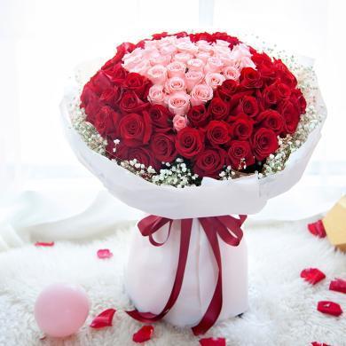 用心愛你-99枝玫瑰鮮花束表白周年紀念日生日禮物情人節創意禮物送女朋友送禮拜訪生日禮物女神節女生節38婦女節