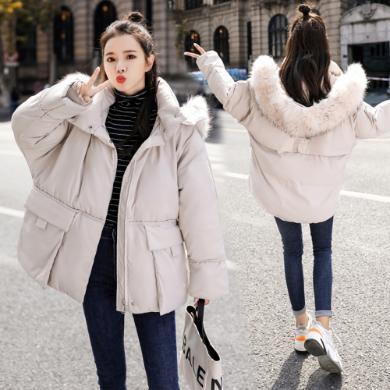 DOWISI实拍大毛领冬羽绒棉服女短款棉袄2019年新款韩版宽松棉衣外套insZP310