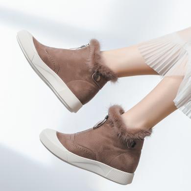 奧古獅登雪地靴女短筒皮毛一體冬季時尚百搭短靴防滑拉鏈加絨加厚平底靴子9414