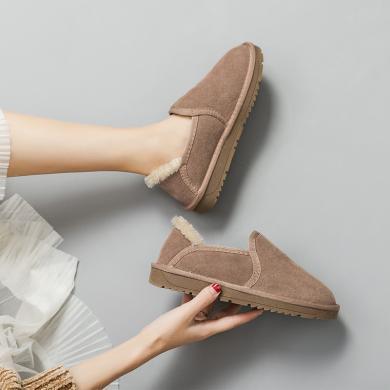 奧古獅登雪地靴女一腳蹬新款冬季時尚真皮可愛厚底加絨棉鞋懶人面包鞋9418
