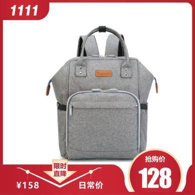 安茁 多功能大容量媽咪包母嬰包雙肩媽媽包外出寶媽背包 灰色