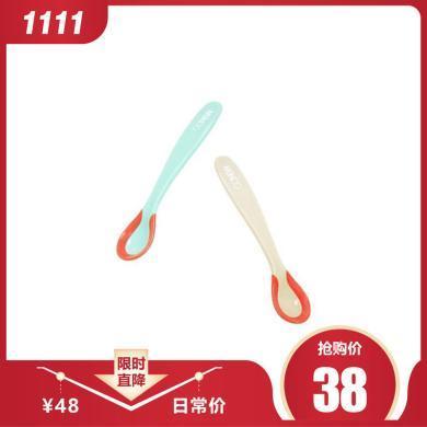 【2只裝】喔喔牛 嬰兒勺子 兒童餐具 感溫變色勺 寶寶湯匙小勺子 感溫變色勺