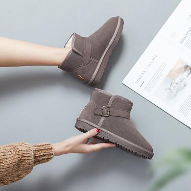 奧古獅登雪地靴女新款冬季時尚皮毛一體短筒加絨真皮防滑厚底短靴棉鞋9425