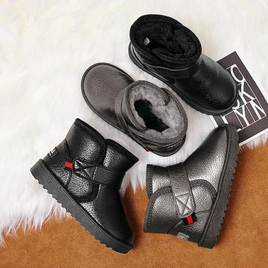 女童雪地靴防水冬季新款加绒保暖棉鞋男童短靴儿童中大童面包靴子 3007