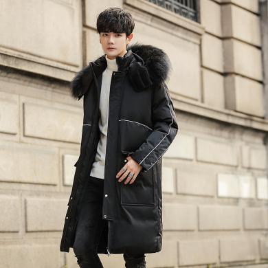 姝奕男装冬季新款黑连帽加厚白鸭绒潮流中长款男士羽绒服大毛领DB923