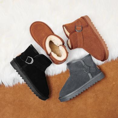 兒童真皮雪地靴女童2019年冬季男童加絨保暖棉鞋中大童加厚面包鞋 5991