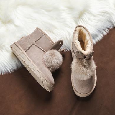 奥古狮登雪地靴女皮毛一体短筒新款冬季时尚可爱学生加绒棉鞋9424