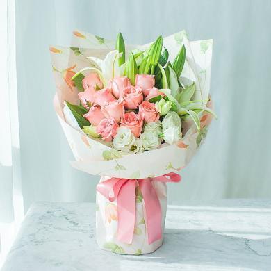 粉雪佳人-鮮花花束情人節老婆長輩女友閨蜜生日禮物創意禮物送女朋友新年春節送禮拜訪生日禮物