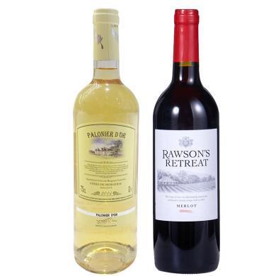 【特惠】品悅紅酒澳大利亞原瓶進口奔富洛神梅洛紅酒750ml+金棕櫚白葡萄酒750ml包郵