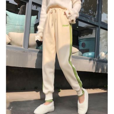 億族 時尚休閑褲女冬季新款松緊腰系帶運動褲加絨加厚長褲寬松顯瘦束腳哈倫褲
