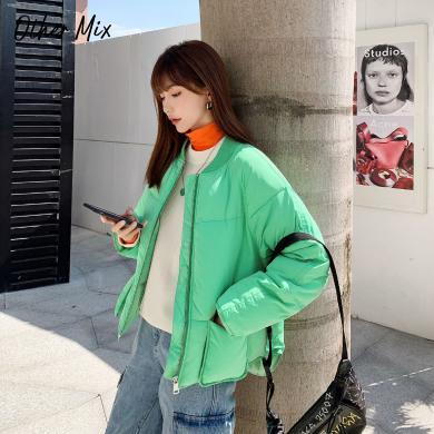 七格格棉衣女冬季韓版2019新款圓領外套短款寬松百搭學生加厚上衣