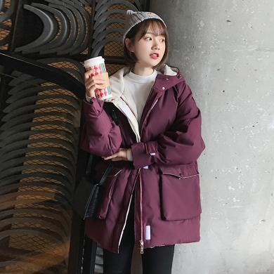 meyou 棉衣棉服外套女冬季新款原宿风韩版宽松连帽面包服