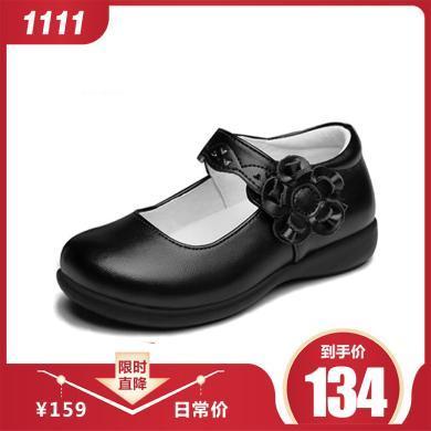 斯納菲童鞋女童皮鞋牛皮公主鞋春秋鞋黑色學生小女孩寶寶兒童單鞋演出鞋136D05-2