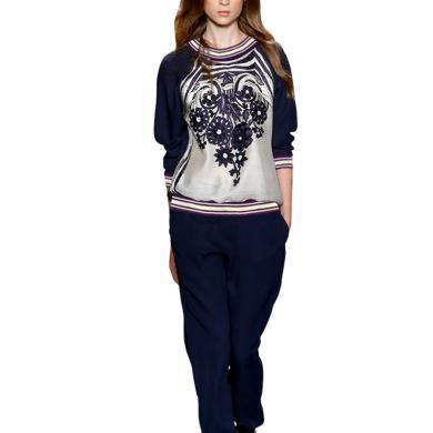 tobebery春季休閑兩件套洋氣減齡褲裝2020新款歐洲站印花上衣時尚女套裝