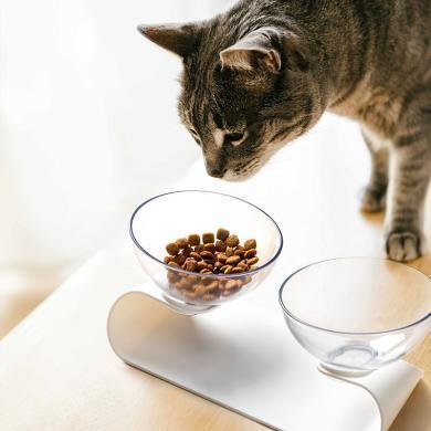 寵物傾斜護頸雙食盆 寵物雙食盆貓狗通用斜口雙碗狗碗貓咪用品小型犬喂食碗