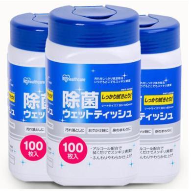 日本爱丽思卫生湿纸巾除菌湿巾厨房清洁擦鞋成人?#26412;?3个装