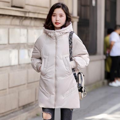 meyou 冬季新款韓版大碼女裝棉衣寬松時尚連帽棉服外套