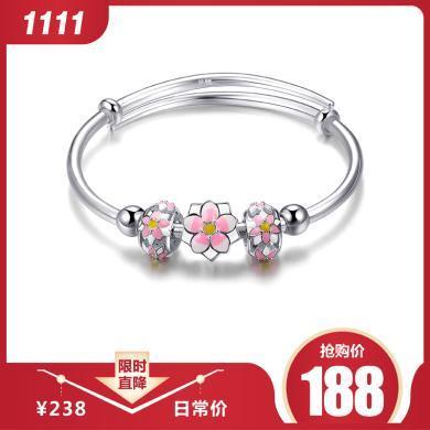 衡润 990足银手镯 樱花 银手环女学生礼物约17-18克