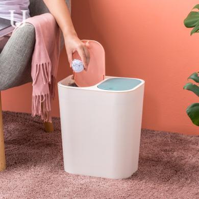 雙口分類垃圾桶 家用大號分干濕垃圾帶蓋客廳臥室垃圾桶