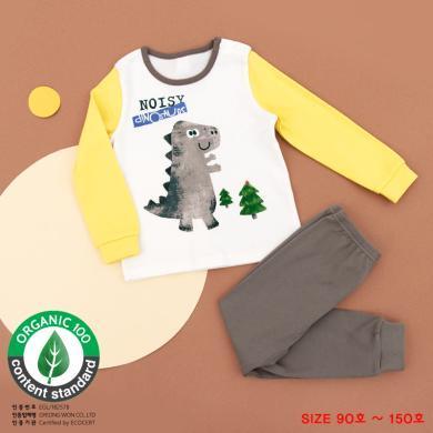 unifriend 韓國兒童家居服套裝秋冬季純棉寶寶恐龍款女童男童睡衣