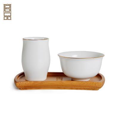 祥福 聞香杯品茗杯套裝功夫茶具茶道配件陶瓷杯子茶藝表演套組