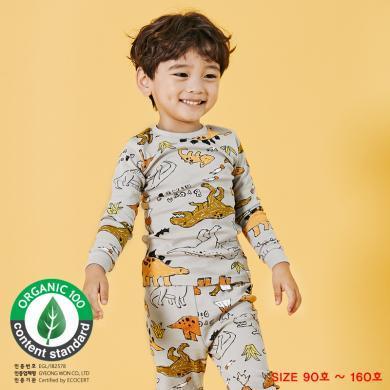 unifriend韓國兒童保暖內衣套裝純棉秋冬季男童寶寶秋衣秋褲