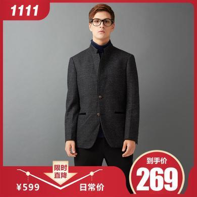 狄亞諾男士商務舒適羊毛條紋休閑西服男修身立領西裝單西便西秋裝 215307