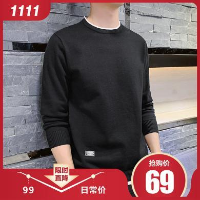 富貴鳥男裝冬季新款男圓領套頭純色打底針織衫男裝毛衫潮流線衣M703
