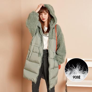 七格格派克羽絨服女白鴨絨2019新款冬季韓版時尚中長款寬松外套潮