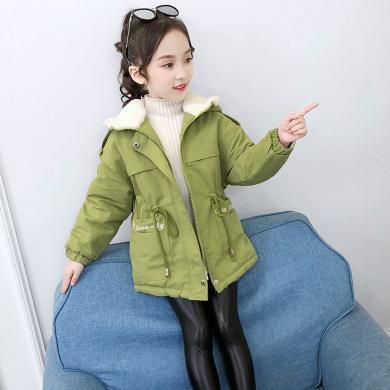 寧可緣女童冬裝加絨風衣韓版童裝2019新款中大童洋氣冬季加厚連帽外套19101503