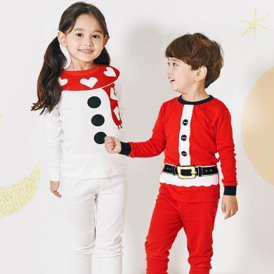 unifriend圣诞节中大童宝宝儿童秋衣秋裤套装纯棉男女童内衣0-8岁