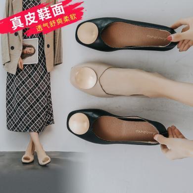 阿么单鞋女一脚蹬晚晚鞋2019秋季新款?#37096;?#24179;底鞋仙女风软底豆豆鞋
