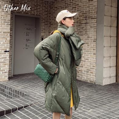 七格格白鸭绒羽绒服女2019新款冬季韩版中长款外套时尚宽松面包服