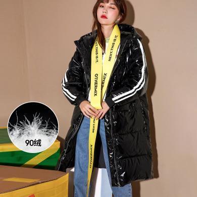 七格格黑色亮面羽絨服女中長款冬季2019新款韓版寬松時尚厚外套潮