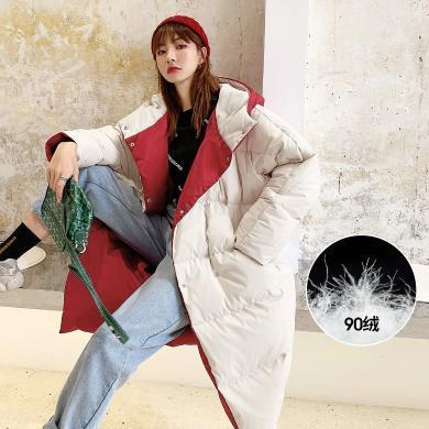 七格格長款羽絨服女長過膝2019新款冬季韓版寬松時尚兩穿派克服潮