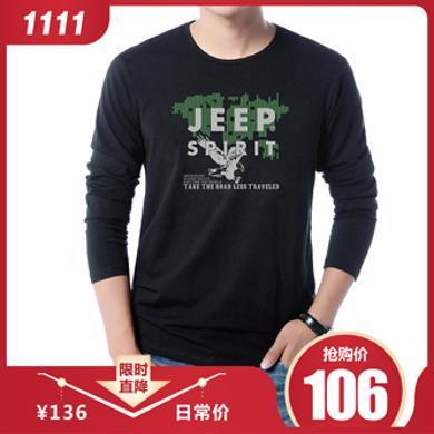 JEEP/吉普春秋新品男士长袖T恤圆领印花棉质宽松大码男装休闲T恤305007X