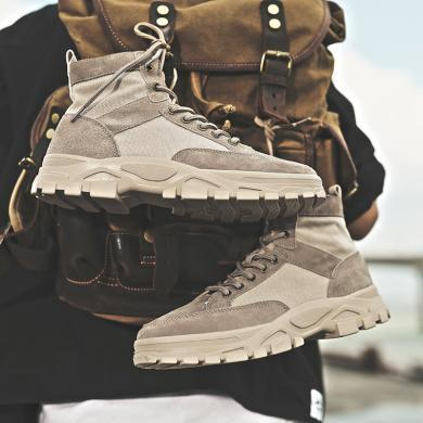 SIMIER2019秋冬新款男鞋沙漠靴馬丁靴戶外工裝鞋高幫靴子男短靴中邦帆布鞋CNG-N810