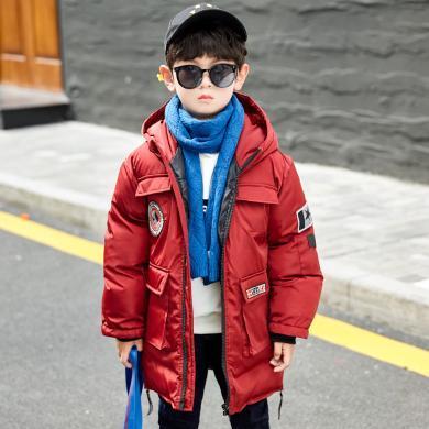 【到手价141元】2019冬季新品男童棉服加厚外套中长款洋气韩版保暖时尚棉衣中大童外套19004