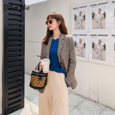 七格格修身小西裝外套女2019新款冬季韓版格子氣質顯瘦中長款上衣