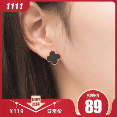 如熙 nuheel  S925银耳饰 18K玫瑰金饰品四叶草黑玛瑙耳环耳钉
