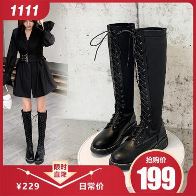 阿么长筒靴子女2019秋冬新款英伦风系带厚底马丁靴帅气高筒骑士靴