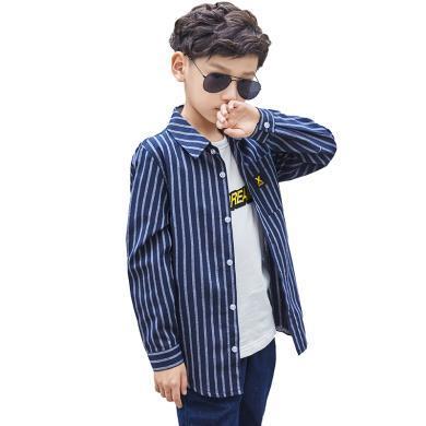 菲菲虎大男童襯衫長袖春秋款2019新款中大童兒童襯衣條紋3-15歲男孩兒童襯衫CR19006