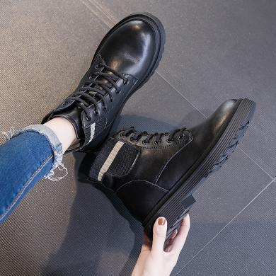 新款牛皮英伦风休闲短靴系带潮流百搭马丁靴学院风女靴MN-A9530