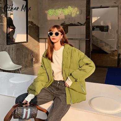 七格格羽绒服女2019新款冬季韩版时尚宽松面包服白鸭绒短款外套潮