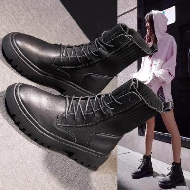 MIJI秋冬爆款ins馬丁靴子女透氣針織襪子短靴高幫機車靴LC-861