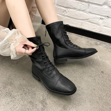 新款马丁靴英伦风中筒女靴机车靴高帮系带女鞋DM826