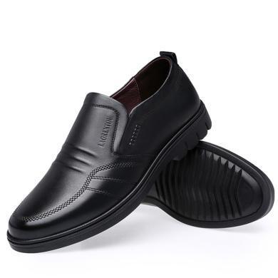 老人頭男鞋秋冬季男士商務休閑皮鞋男時尚透氣軟底套腳中年休閑鞋子70081