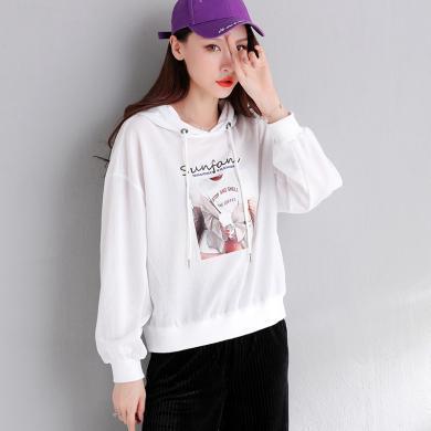 搭歌連帽衛衣女印花薄款韓版潮2019秋裝新款寬松學生時尚外套 J9037