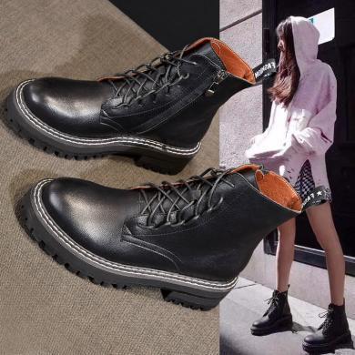 SIMIER2019秋冬新款女鞋英倫風馬丁靴厚底靴子女網紅百搭短靴機車靴JM-993