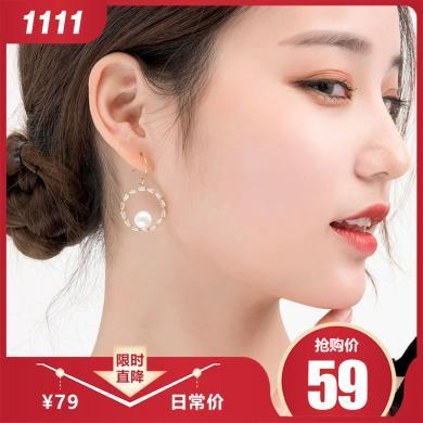 如熙 nuheel 韩版简约大圆圈珍珠?#19981;飞?#22899;气质百搭耳钉